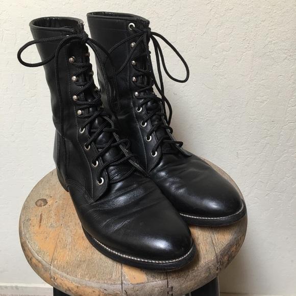 d5f868fbc3e Justin Men's Lace Up Western Roper Work Boots 9.5D